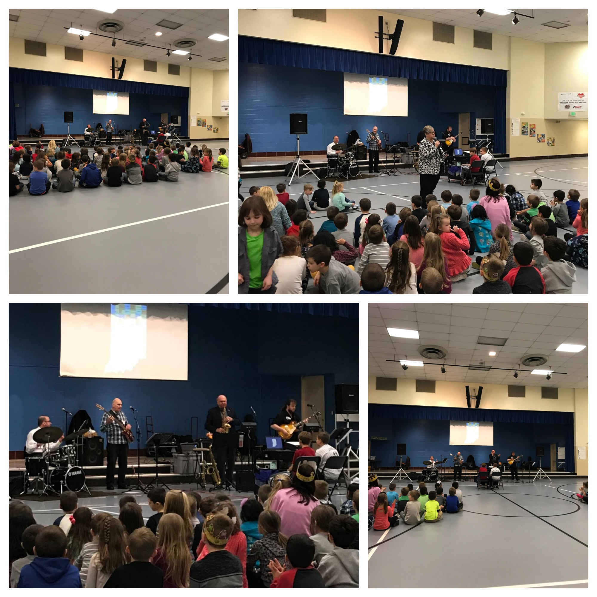 """Brown's Music Bus entertained during two performances at Bibich. During the day they performed their """"Hoosier Hits"""" program for students and staff, and in the evening they prerformed their """"Music Through the Decades"""" program for Grandparents'/Special Persons' Night."""